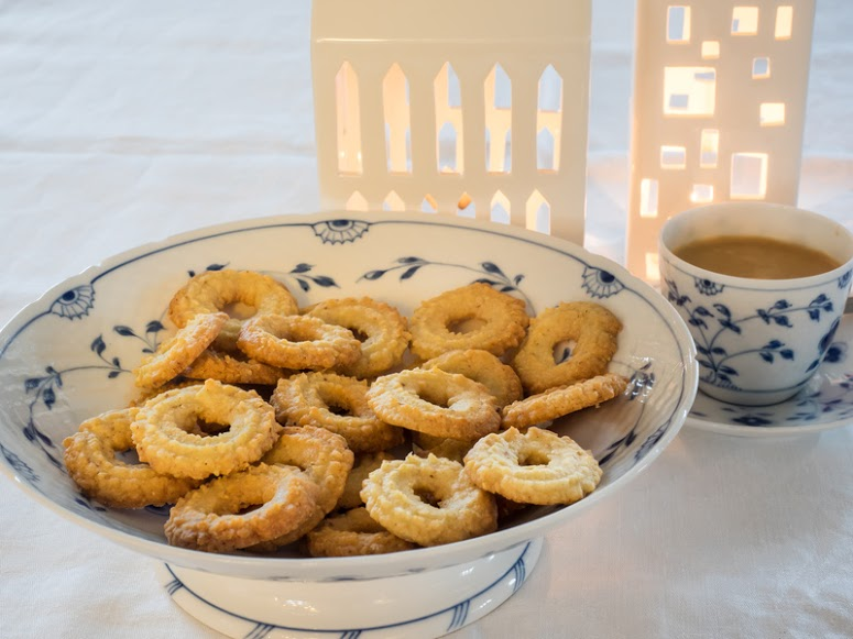 Traditional Danish homemade sweet vanilla christmas cookies