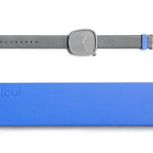Pebble 04 en acier gris pierre recouvert de titane – bracelet en cuir italien gris