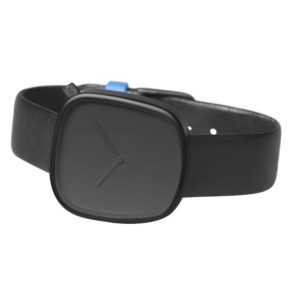 Pebble 01 en acier noir - bracelet en cuir noir italien