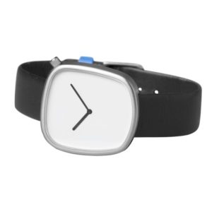 Pebble 02 en acier mat - bracelet en cuir noir italien