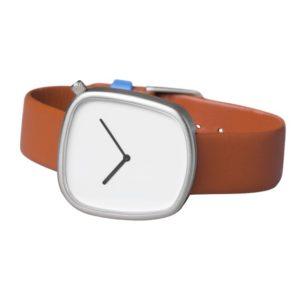 Pebble 03 en acier mat - bracelet en cuir italien marron
