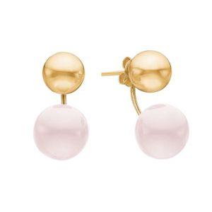 Boucles d'oreille 2 Balls plaqué or et rose pâle