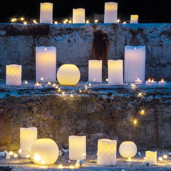lot de 3 bougies led en cirerose blushtenna sirius. Black Bedroom Furniture Sets. Home Design Ideas