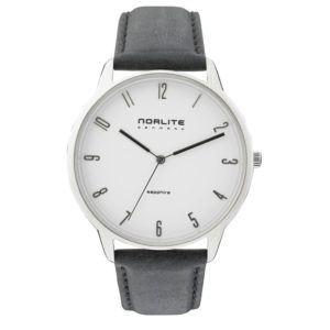Norlite Denmark NOR1501-010401 Steel Case White Dial Black Leather Strap