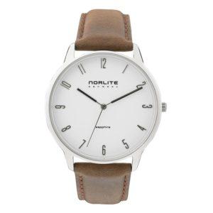 Norlite Denmark NOR1501-010402 Steel Case White Dial Dark Brown Leather Strap