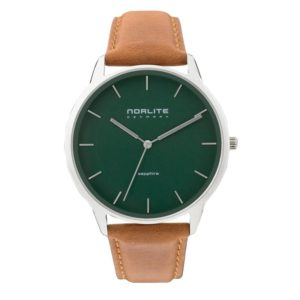 Norlite Denmark NOR1501-011205 Steel Case Green Dial Cognac Brown Leather Strap
