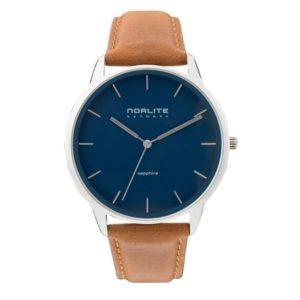Norlite Denmark NOR1501-011305 Steel Case Blue Dial Cognac Brown Leather Strap