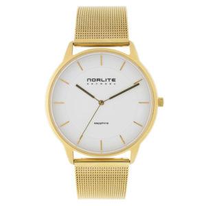 Norlite Denmark NOR1501-020221 Gold Case White Dial Gold Mesh Band
