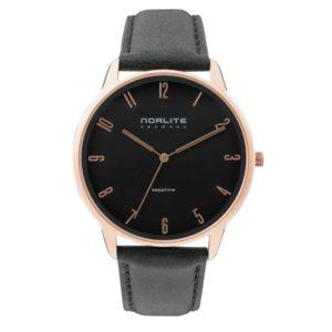 Norlite Denmark NOR1501-030901 Rose Gold Case Black Dial Black Leather Strap
