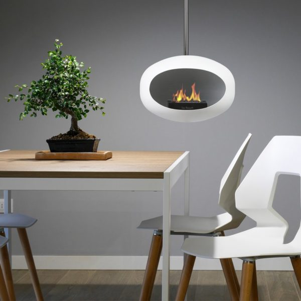 chemin e bio thanolblanc pied en acier polile feu la petite scandinave. Black Bedroom Furniture Sets. Home Design Ideas